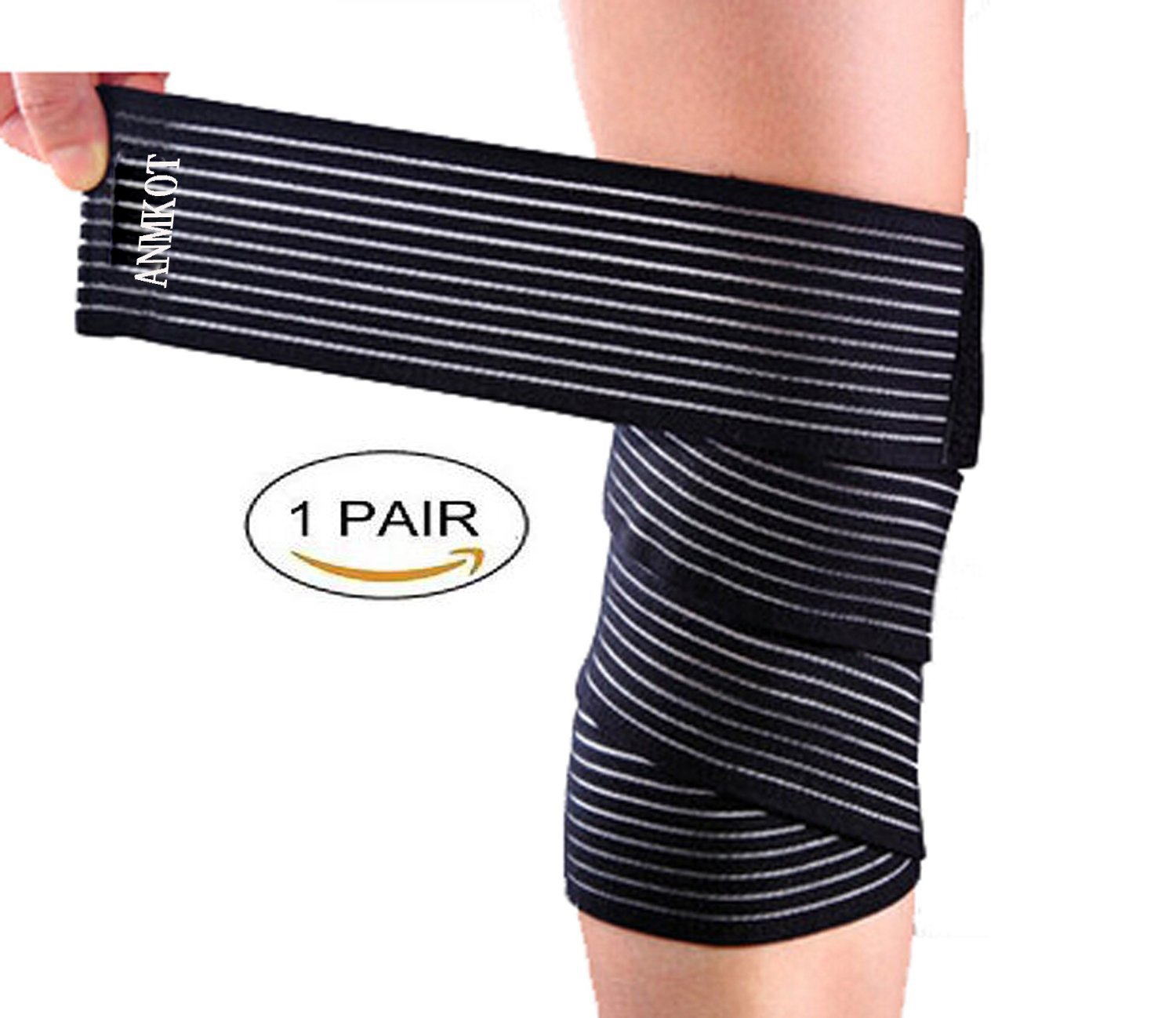 ANMKOT 2PCS Black Elastic Breathable Knee Pain Relief Straps Support Wraps Gym Squat Lifting Knee Brace Velcro Compression Bandage Sleeve (2PCS Knee Bandage)