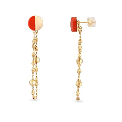 4314f01df1ea5 Buy Mia by Tanishq 14KT Yellow Gold and Coral Drop Earrings for ...