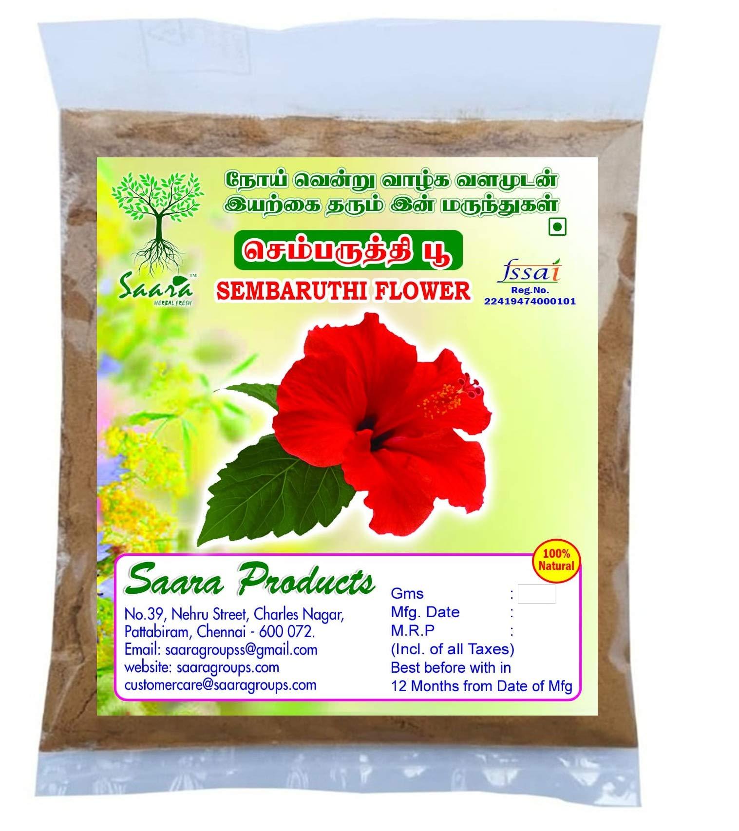 SAARA : Hibiscus Flower Powder/Sembaruthi Flower Powder 100g (Pack of 100 x 1)