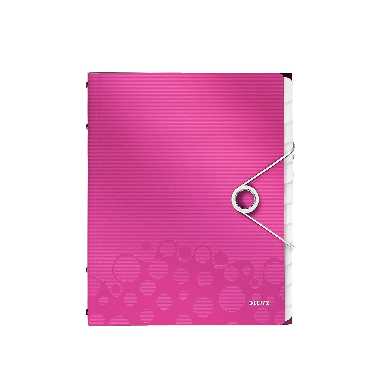 Leitz 46340023 Libro monitore, Formato A4, Capacità 200 fogli A4, 12 scomparti indicizzati, Chiusura a elastico, Polipropilene, Fucsia metallizzato, WOW
