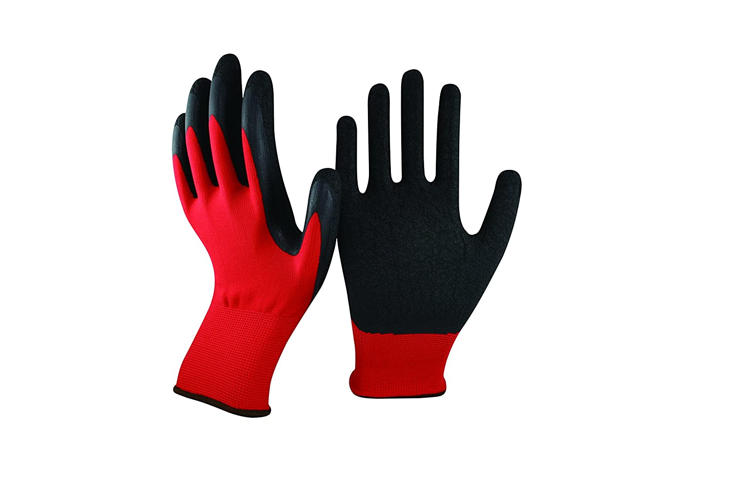 12 PAIRS RED HIGH QUALITY LATEX COATED CRINKLE BUILDERS WORK SAFETY GLOVES SIZE 11 / XXL LNA NAMAA