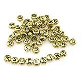 Acrylperlen mit Buchstaben in gold 200 Stück von Vintageparts, DIY-Schmuck