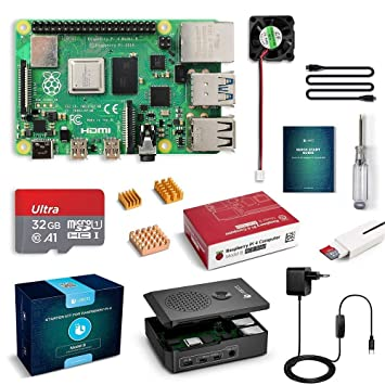 LABISTS Raspberry Pi 4 Model B Kit de 4 GB con SD de 32GB Clase 10, RPi Barebone con 3 Disipadores de Calor, 5V 3A Tipo C, Ventilador, Micro HDMI, ...