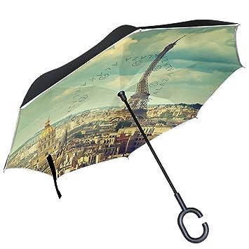 ALAZA París Torre Eiffel ciudad cielo Azul Francia puede paraguas paraguas plegable de doble capa resistente