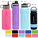 SUCFORST Water Bottle +2 Extra Lids- Vacuum Insulated Stainless Steel Wide Mouth Travel Mug - Powder Coated Double-Walled Flask,36 oz,32 oz,24 oz,18 oz