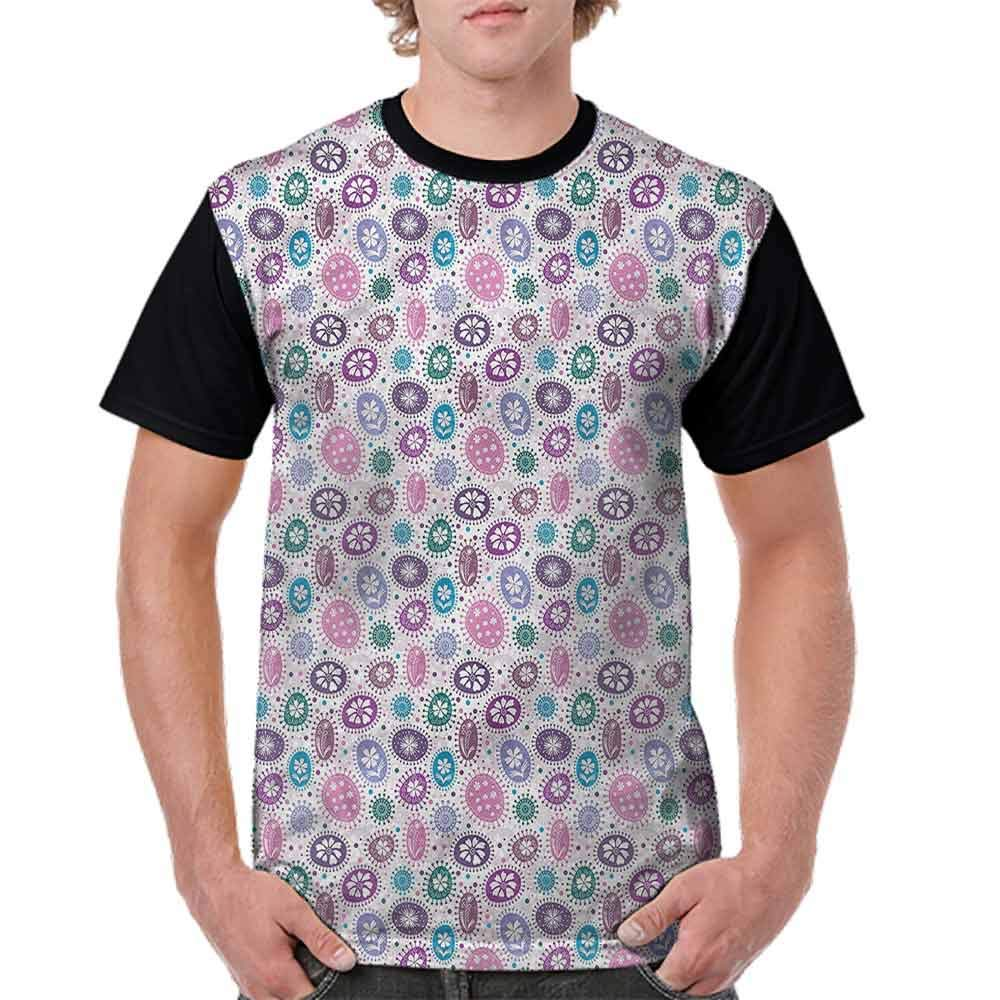 Cotton T-Shirt,Doodle Round Shapes and Dots Fashion Personality Customization