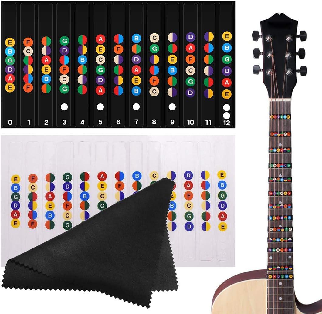 Etiquetas de Guitarra Notas Pegatina, Pegatinas para Tabla de Trastes de Guitarra, Apto para Guitarra Electrica Acustica de 6 Cuerdas, Paquete de 2 con Paño de Limpieza de Fibra Fina, Negro e Claro