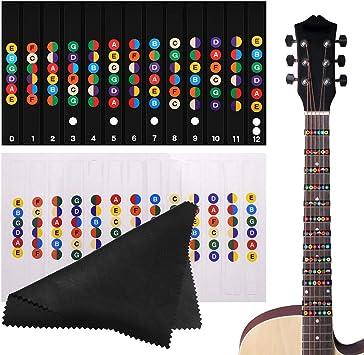 Gitaar Fretboard Stickers Set Kleur Gecodeerde Note Vinyl Decals Voor Gitaar Leren Toets Frets Kaart Voor Beginner Leerling Praktijk Fit 6 Snaren Akoestische Elektrische Gitaar Kleur En Transparant Amazon Nl