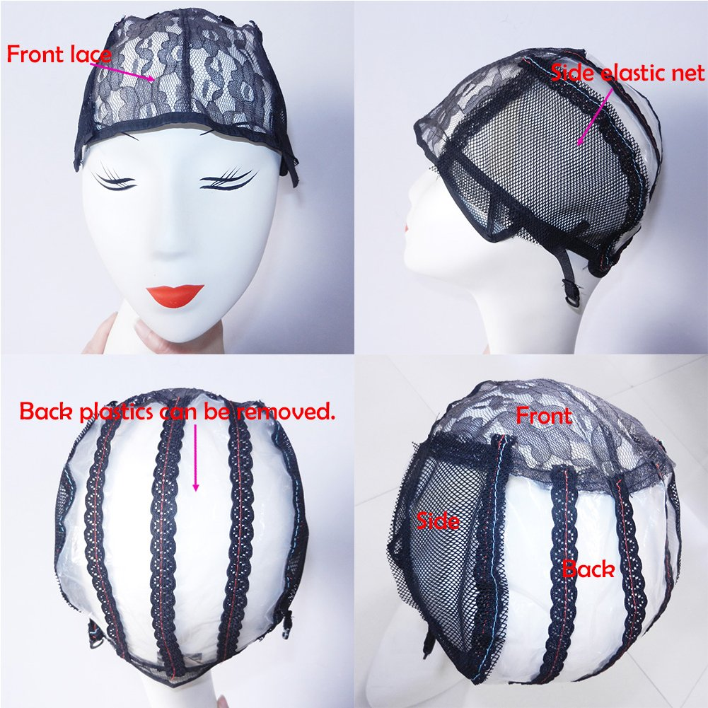 XCCOCO 10PCS Adjustable Weaving Cap for Wig Making Medium Size Mesh Lace Wig Cap For DIY Wig Black Color
