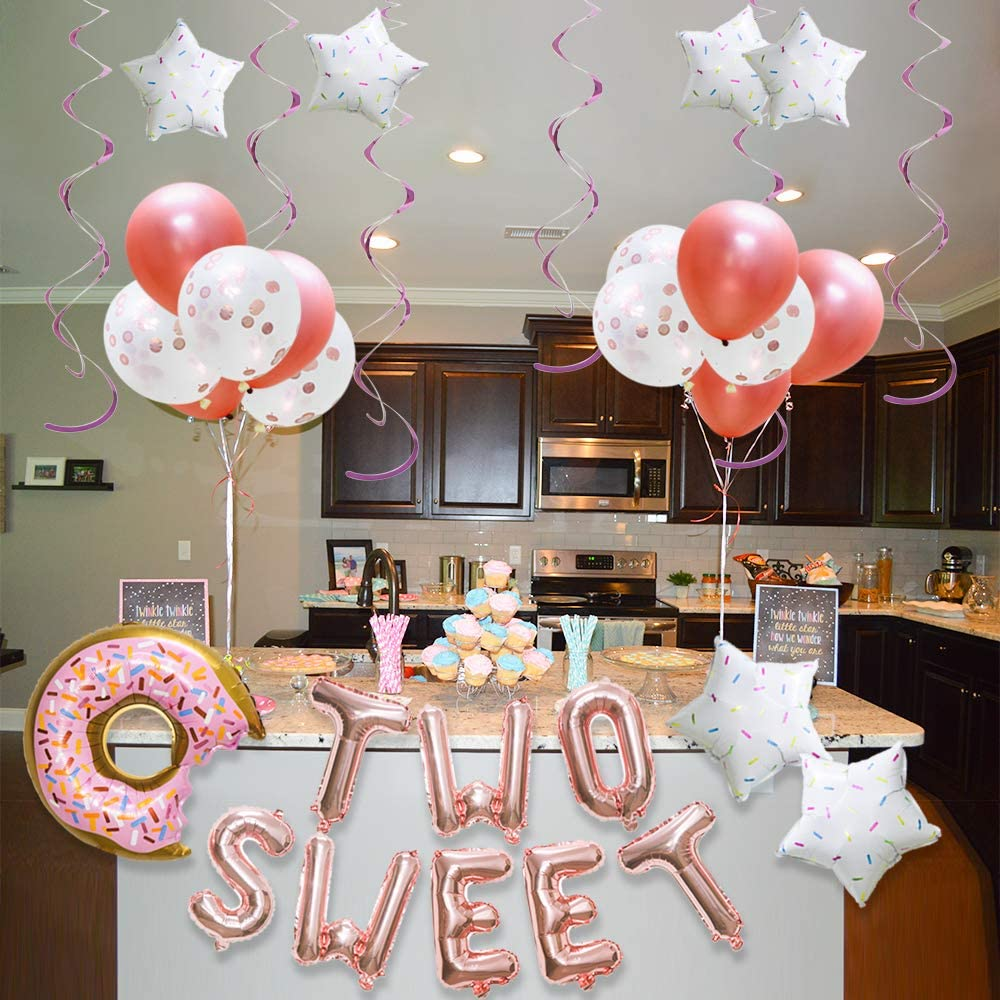 Donut3 Foil Balloons Confetti Latex Balloons Paper Lanterns Donut Grow Up Cake Topper Meiduo Donut 3rd Birthday Party Supplies Donut Banner for Boy Girl Kids Donut Baby Shower Candy Party