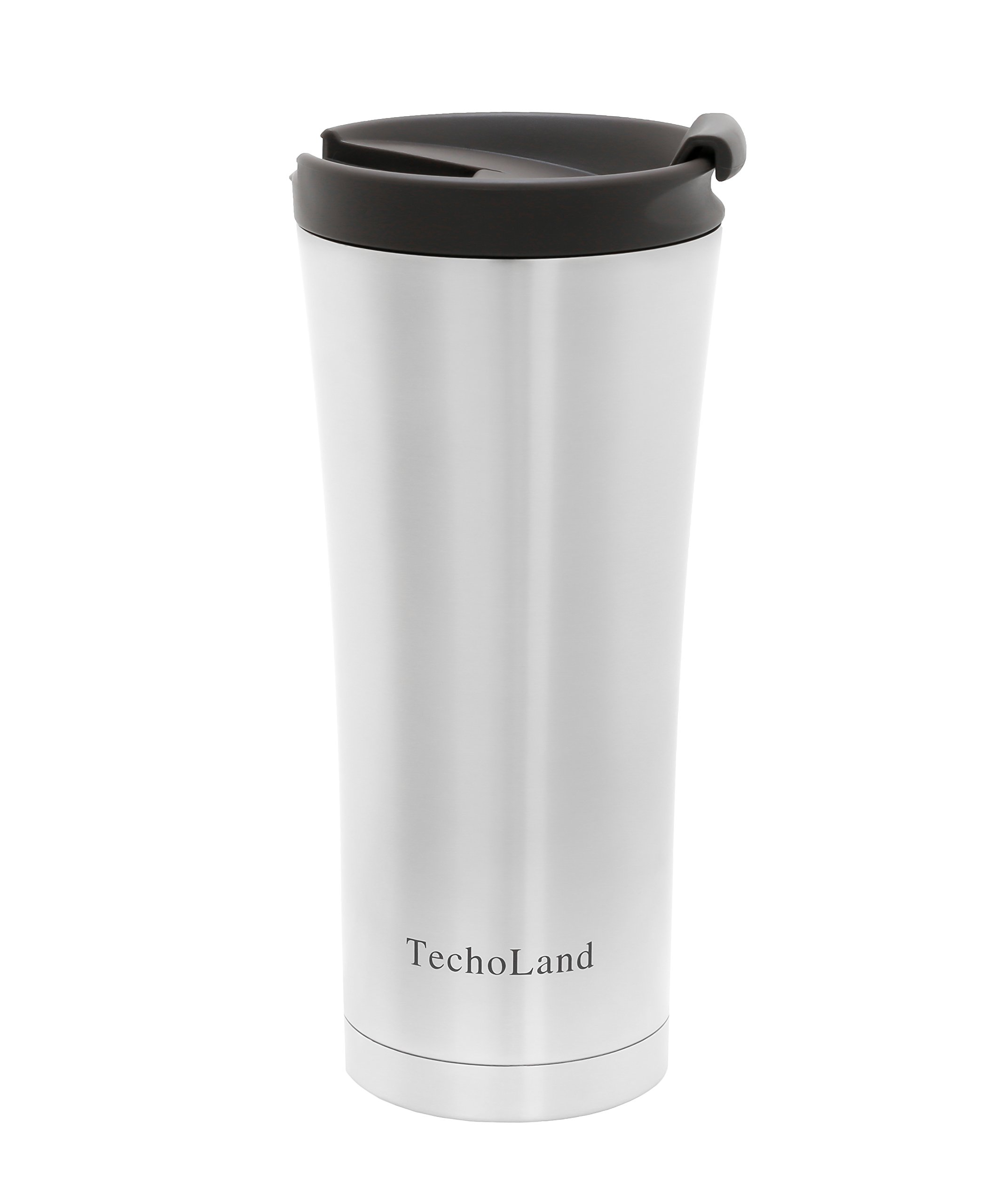 Vacuum Insulated Stainless Steel Travel Tumbler for Hot or Cold by Techoland Premium 16 Oz Mug with Leak/Spill and Splash Proof Lid