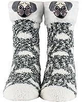 Cozy Socks for Women, Girls - Fuzzy Christmas or Birthday Socks with Santa, Reindeer, Puppies - Plush Socks