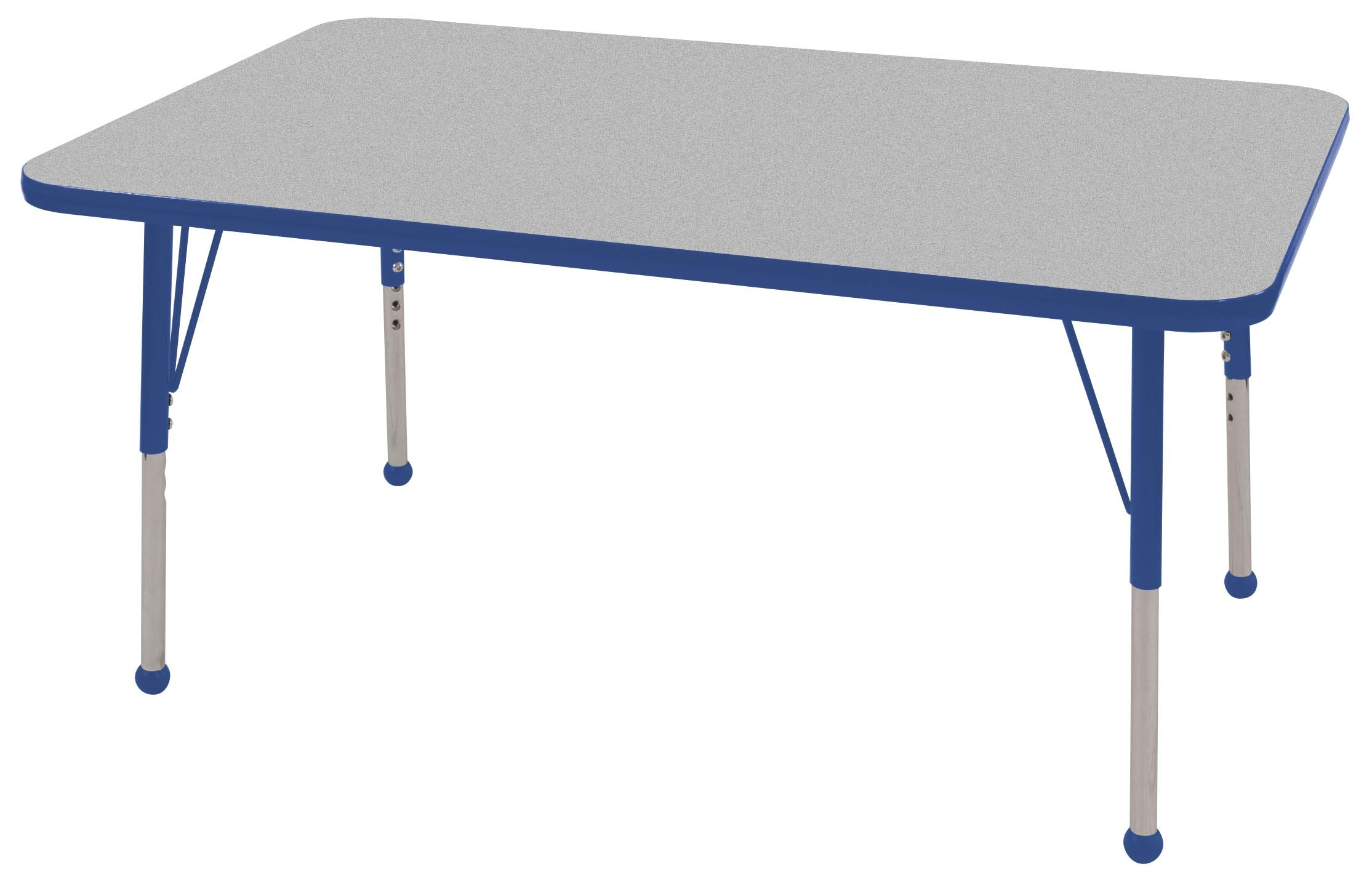 ECR4Kids T-Mold 30'' x 48'' Rectangular Activity School Table, Standard Legs w/ Ball Glides, Adjustable Height 19-30 inch (Grey/Blue) by ECR4Kids