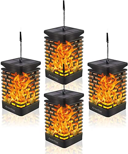 Arzerlize Solar Lanterns Outdoor Hanging, Garden Decorations, led Solar Lights Dancing Flame Patio Decor Pathway Landscape Waterproof auto on Off Yellow 4 P