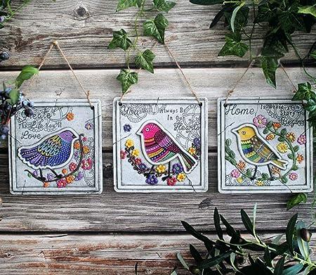 Sungmor 3 PACK Colgante Cuadrado Signos de pájaros Cemento Placas de jardín al aire libre | Pájaros pisando la vid de flor | Yarda estatua jardín decoración colgante adornos de pared decoraciones: