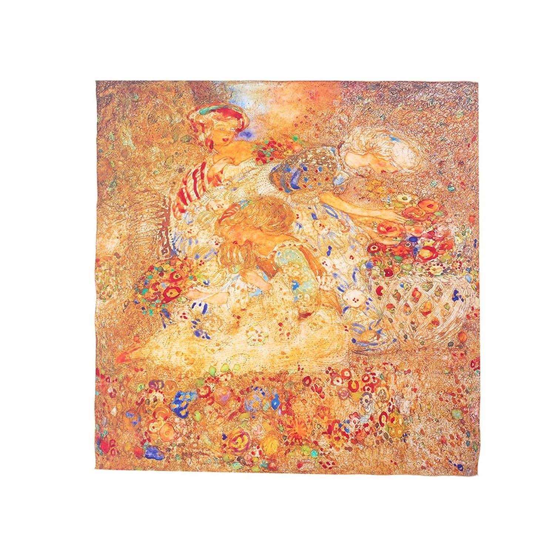 Aqueena Women's Oil Paintings 100% Luxury Square Silk Scarf Premium Shawl Wrap