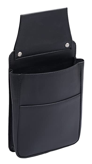 Bolsa para Cartera de Camarero BASIC, de Cuero, Negra 22x16cm