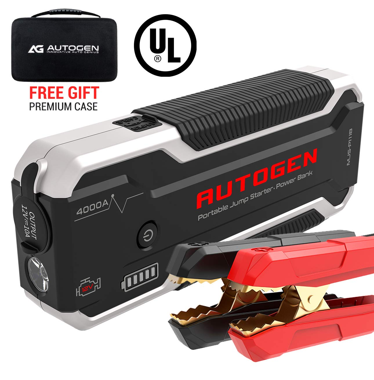 AUTOGEN Car Jump Starter PRO 32000mAh 4000A Peak (10.0L+ Gas & 10.0L+ Diesel), 12V Portable Battery Booster Jumper Pack for Cars, SUVs, Trucks. Huge Power Bank with Quick Charge 3.0