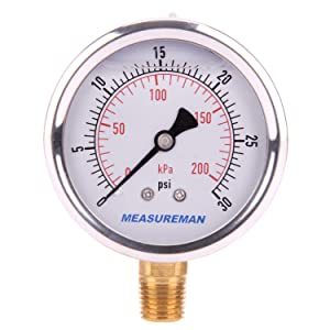 "Measureman 2-1/2"" Dial Size, Oil Filled Pressure Gauge, 0-30psi/kpa, 304 Stainless Steel Case, 1/4""NPT Lower Mount"