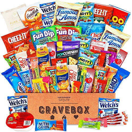 re Package Snack Box - Gift Basket Variety Pack with Bars, Chips, Candy and Cookies - Sweet and Salty Treats for Lunches, College Students and Office Parties (50 Count) (Christmas Candy Gift Box)