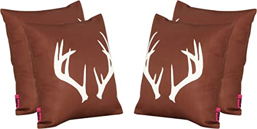 Christopher Knight Home Annabelle Outdoor Cushions, 17.75 Square, Antlers, Rust, White Set of 4