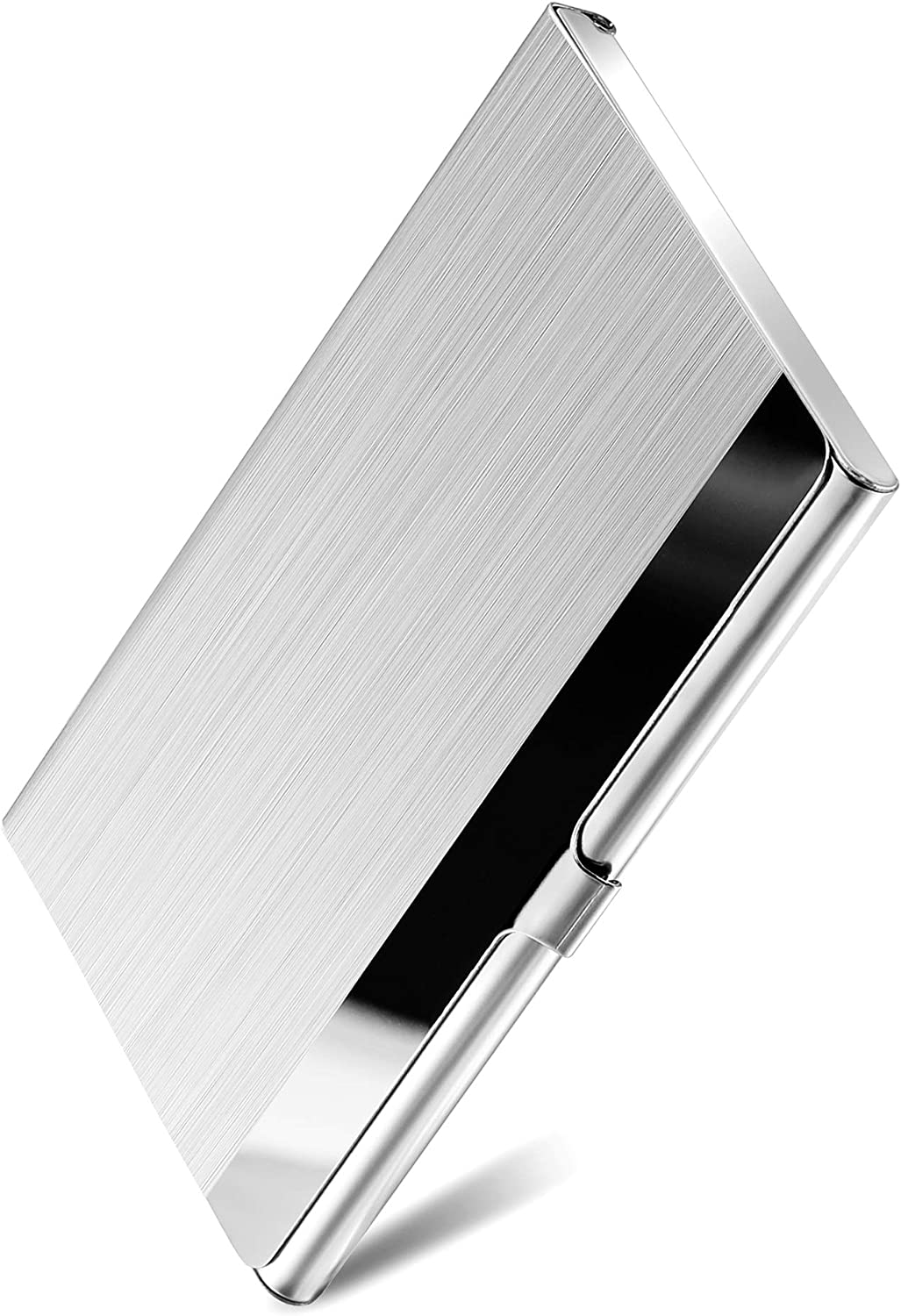 MaxGear Metal Business Card Holder for Men & Women, Pocket Business Card Case Slim Business Card Wallet Business Card Holders Name Card Holder, 3.7 x 2.3 x 0.3 inches, Stainless Steel, Silver Mirror : Office Products
