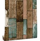 HaokHome 61025 アンティーク調 木目 ストライプ3d 壁紙シール のり付き 剥がせる ブラウン簡単 キッチン リビングルームの装飾45cmx3m