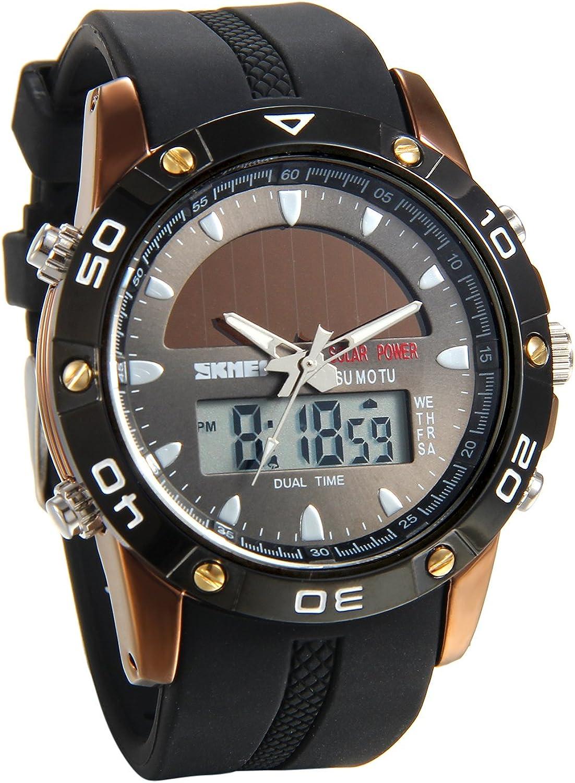 Lancardo Reloj Deportivo de Energía Solar de Multifunción Dual Tiempo Pulsera Digital de Silicona Batería Integrada Impermeable de 50M para Actividad Deportes Exteriores para Hombre (Negro)