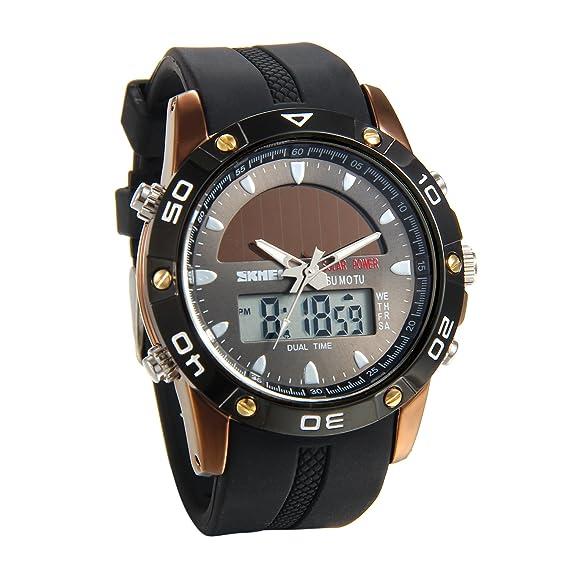 Lancardo Reloj Deportivo de Energía Solar de Multifunción Dual Tiempo Pulsera Digital de Silicona Batería Integrada