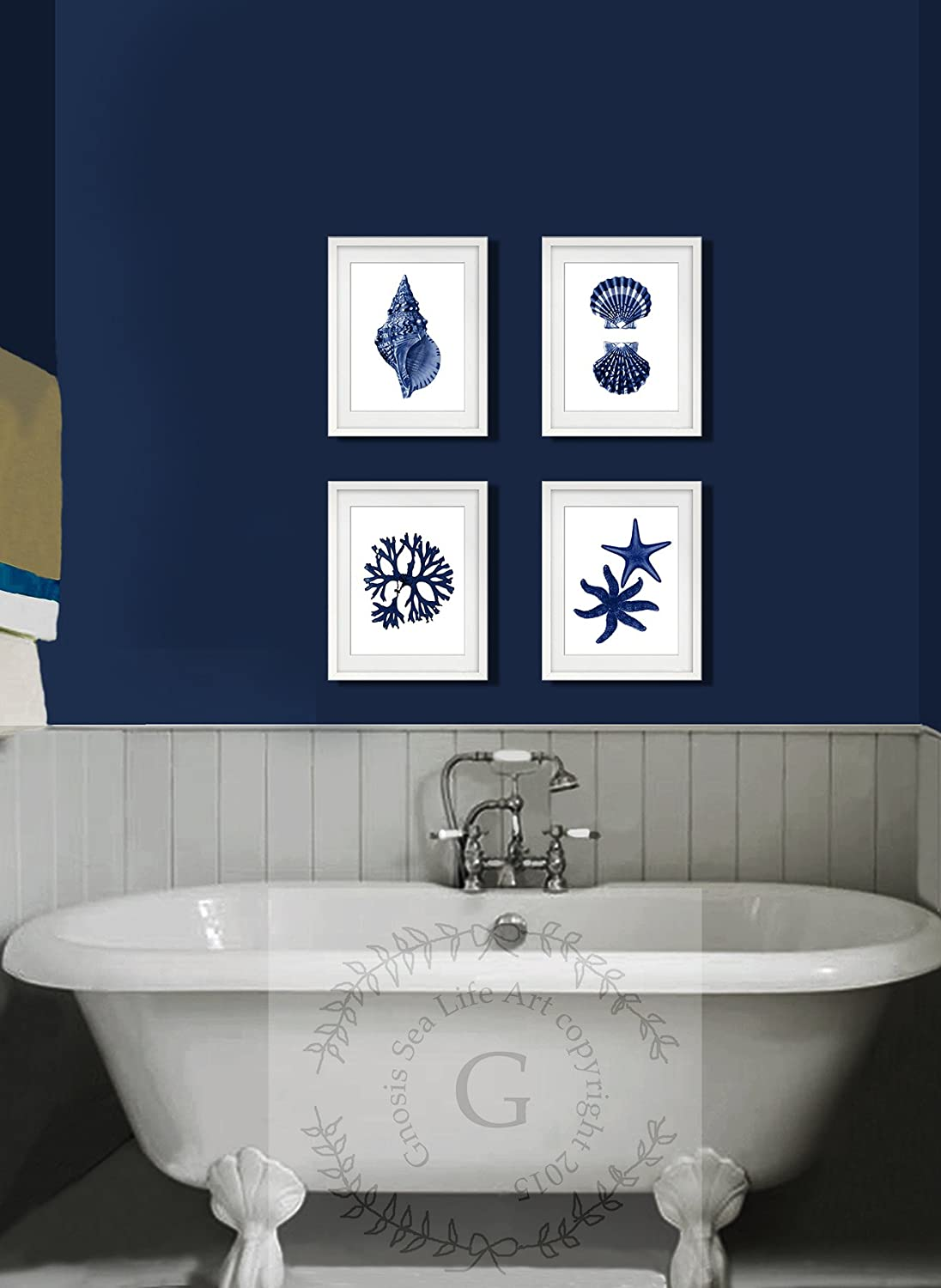 Amazon.com: Navy Blue Beach Wall Art Decor Set of 4 Unframed Prints ...