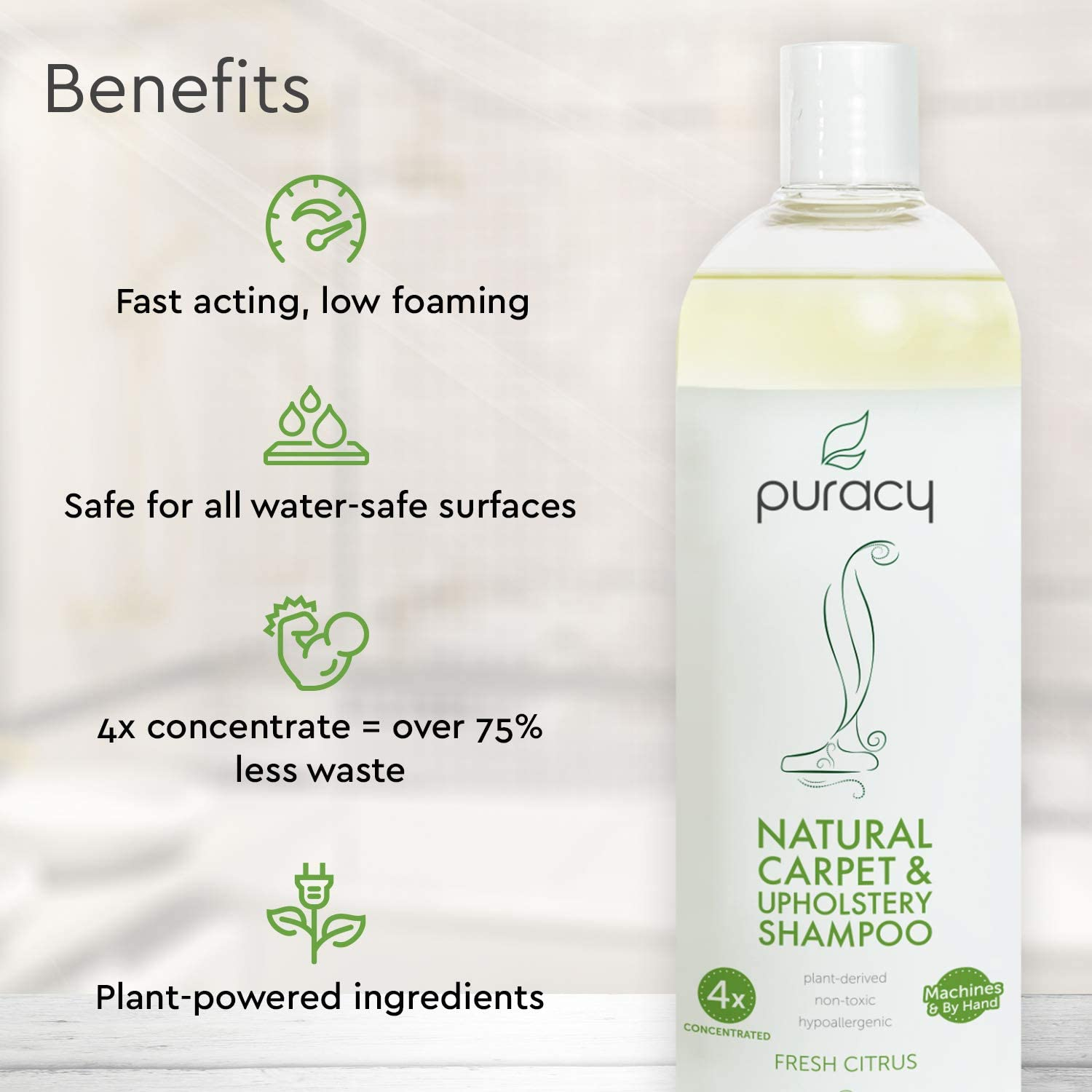 Puracy Natural Carpet & Upholstery Shampoo - Eliminates Stains ...