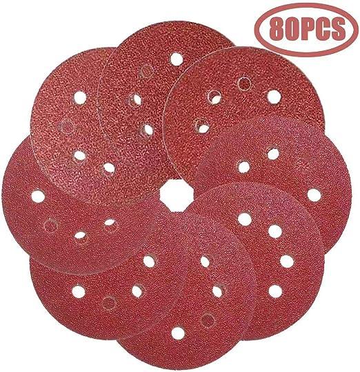 """10pcs 5"""" 60~1000 Grit Hook /& Loop Sandpaper Sanding And 8 Hole Sand Sander Discs"""