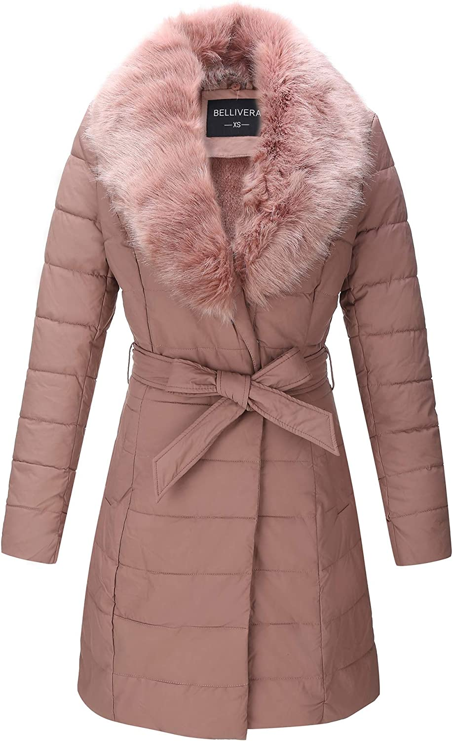 Bellivera Faux Leather Puffer Padding Long Jacket,Women Winter Bubble Coats with Detachable Faux Fur Collar