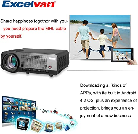 Excelvan LED-86 2800 Lumenes Proyector WIFI (Android 4.2, LED ...