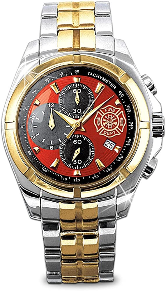"""for My Firefighter"" Men's Chronograph Watch with Engraved Maltese Cross"