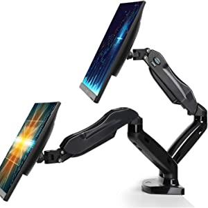 Dual Monitor Stand - Adjustable Monitor Desk Mount Fit 17 to 27 Inch Screens, Double Gas Spring Monitor Arm VESA Brackt, Each Arm Holds 4.4 to 14.3lbs with Clamp, Grommet Mounting Base