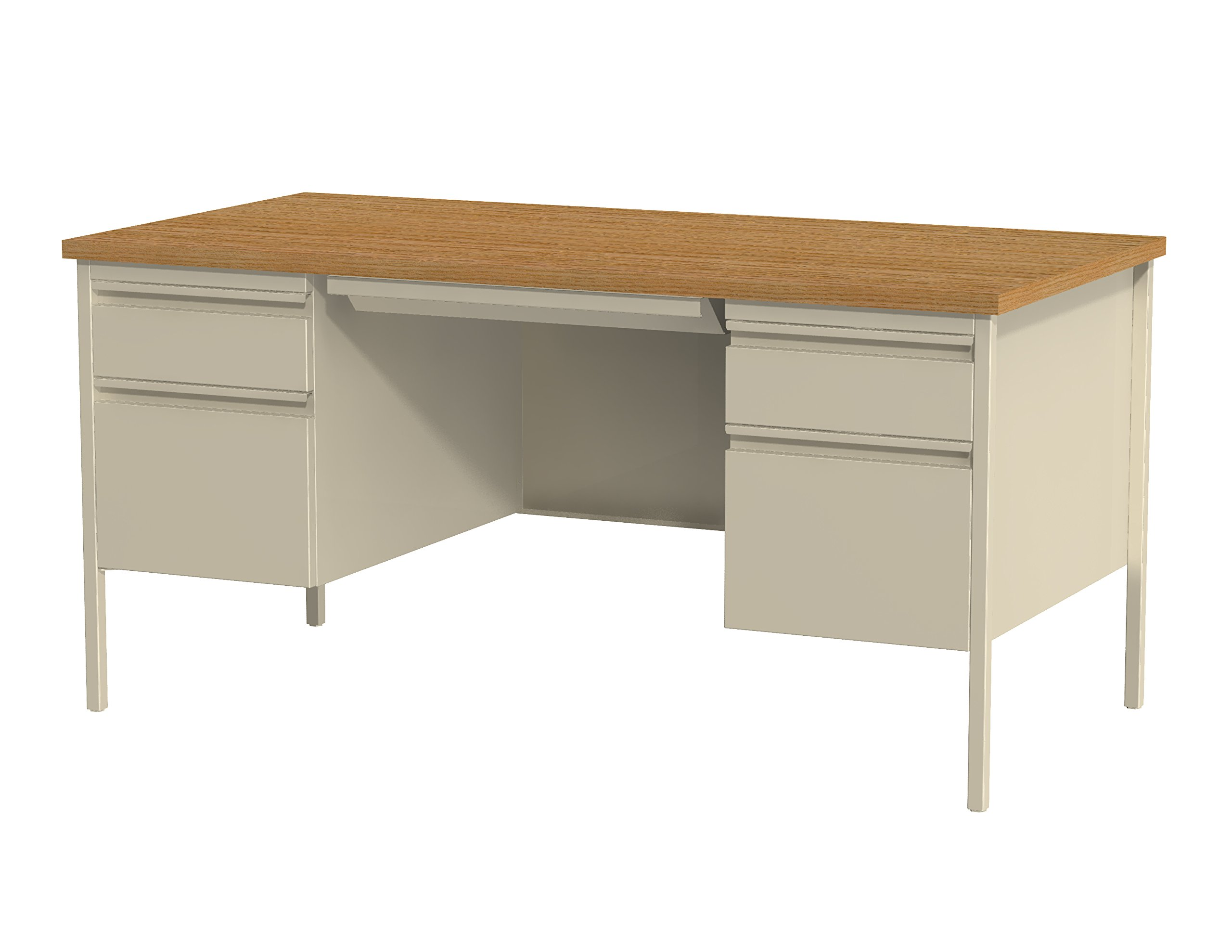 Office Dimensions Double Pedestal Office Desk with Center Drawer, 30'' D x 60'' W, Putty/Oak