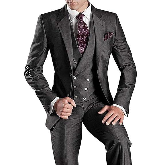 SHENLINQIJ Black Mens 3 Pieces Wedding Groom Tuxedo Suits ...