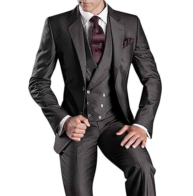 Portsvy Mens Slim Fit 3 Piece Wedding Tuxedo Suit Two ...