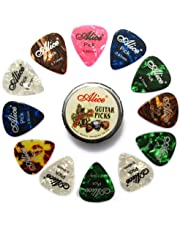 Alice 12pcs Celluloid Plectrums Acoustic Electric Guitar Colorful Picks 0.46mm/0.71mm/0.81mm in 1 Round Metal Picks Box