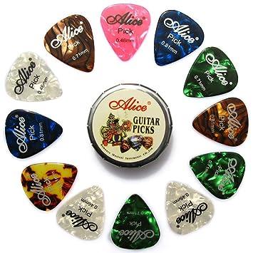 Alice 12 uds Celuloide Púas de Guitarra, Varios Tamaños Espesores 0.46mm / 0.71mm / 0.81mm Colorido Guitarra Para su Guitarra Eléctrica, Acústica, o ...