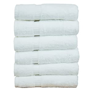 Chakir Turkish Linens Dobby Border Hand Towel, 6 Pack, White