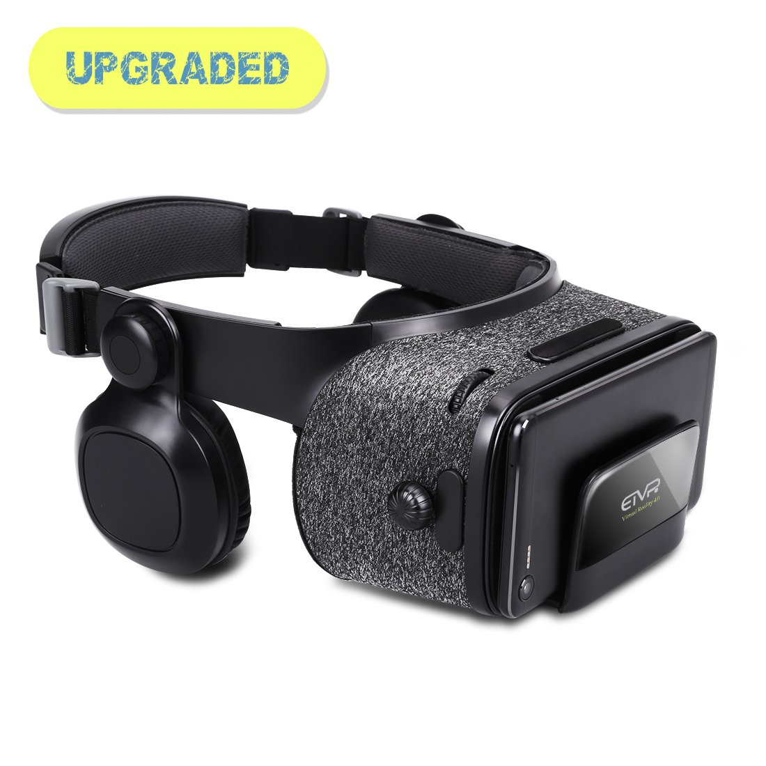 3D VR Headset - Virtual Reality Headset for VR Games & 3D Movies with Stereo Headphones, Adjustable Staps, PD & FD for Apple iPhone & Android Smartphones of 4.7'' - 6.2'' - Black