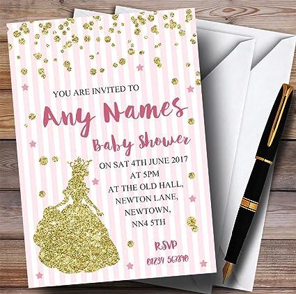 Rosa Rayas Oro Brillante Invitaciones De Princesa Para Baby
