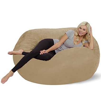 Chill Sack Bean Bag Chair: Huge 5 Memory Foam Furniture Bag and Large Lounger - Big Sofa with Soft Micro Fiber Cover - Camel