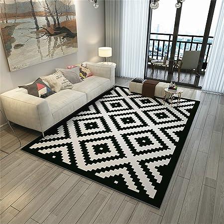 Tapis rectangulaire moderne simple Style nordique Surface géométrique en  noir et blanc Tapis/tapis pour salon Table basse Chambre Bord de cabine ...