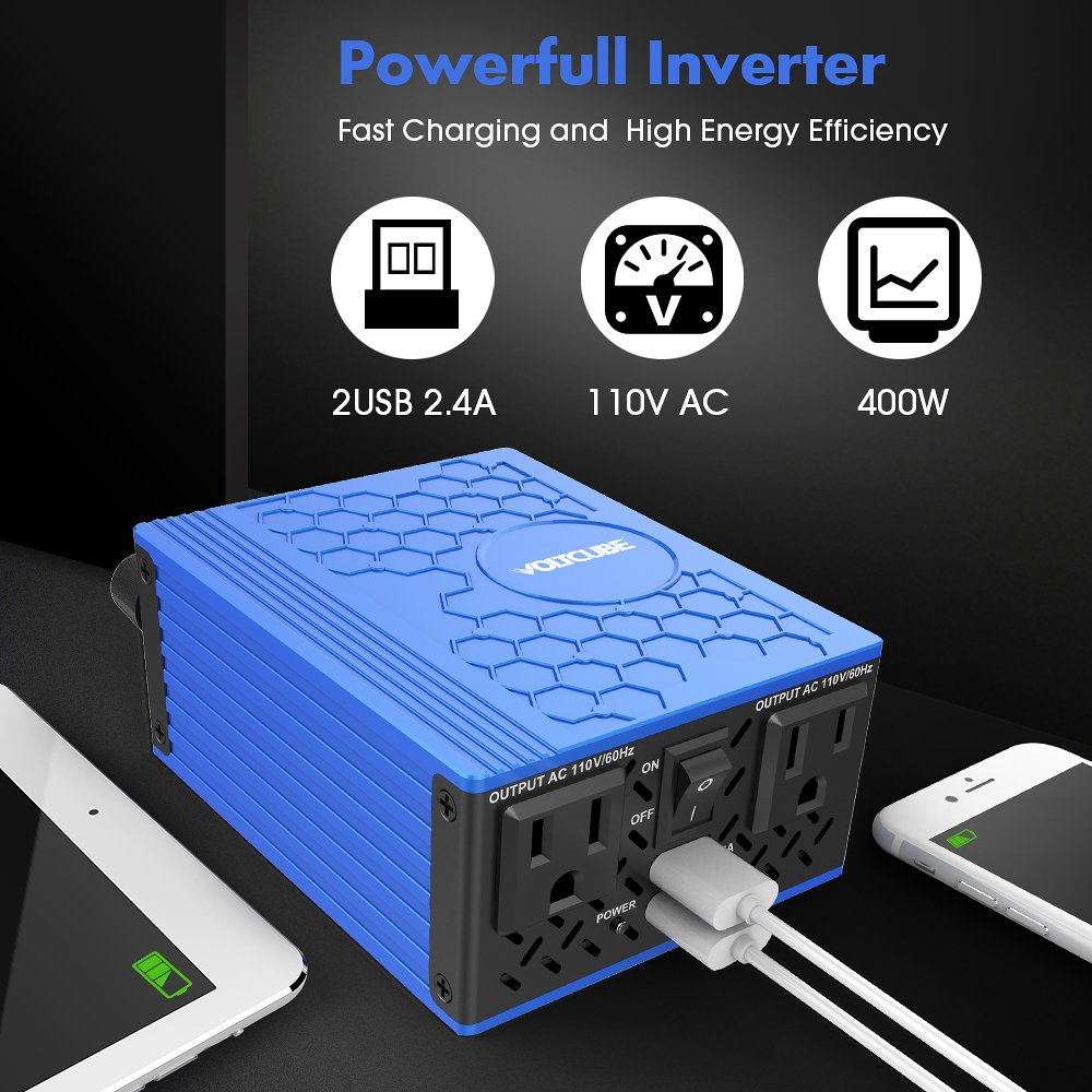 12V DC to 110V AC Car Adapter with Twin 2.4A USB Ports and Two Independent AC Outlets VOLTCUBE 400W Power Inverter Red
