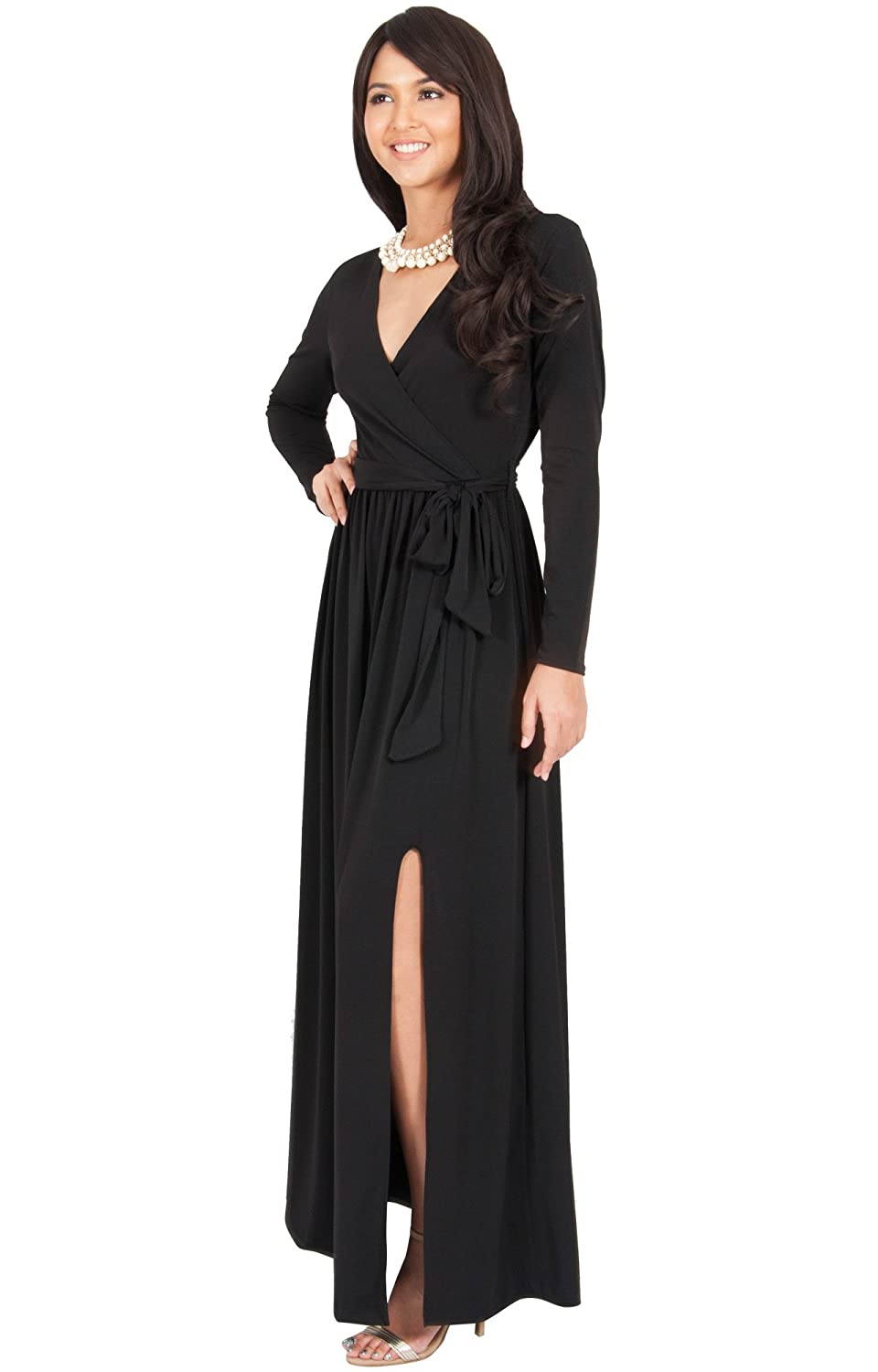 a45773d3d37 KOH KOH Womens Long Sleeve V-Neck Cross Over High Slit Cocktail Evening Gown  Maxi Dress at Amazon Women s Clothing store