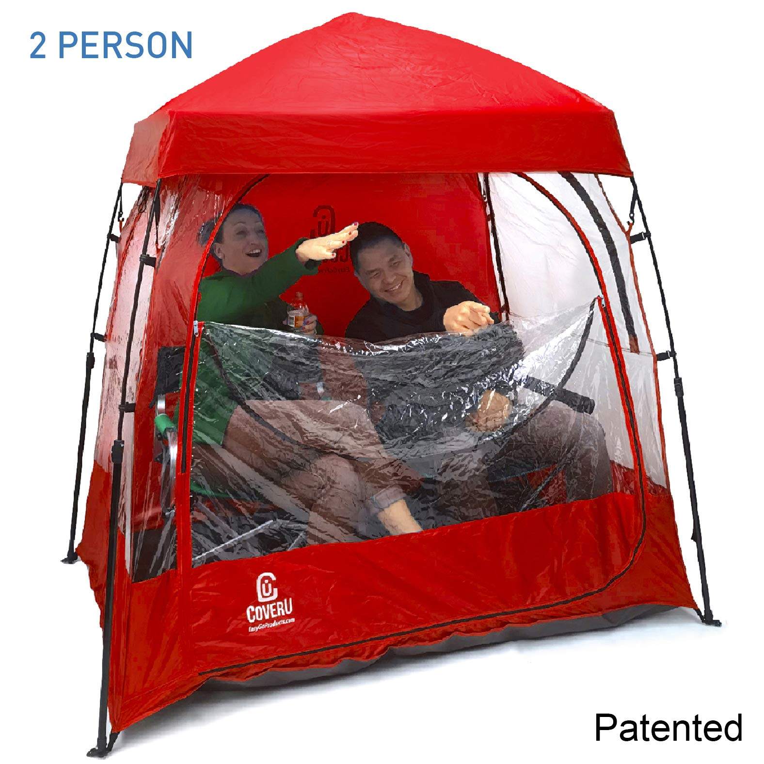 EasyGo Product CoverU Sports Shelter - 2 Person Weather Tent Pod (RED) -Patented by EasyGoProducts