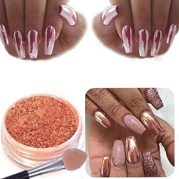 Nail art rose poudré